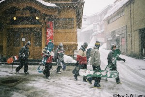 Snowboarders in Japan